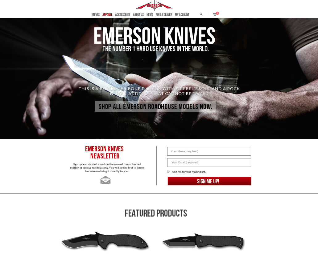 Emerson Knives Website Design by Sylvia